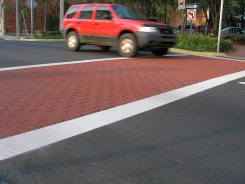 Brick Red Pigmented Stone Crosswalk